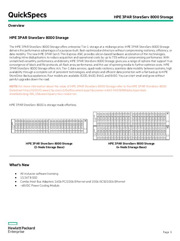 PDF) QuickSpecs HPE 3PAR StoreServ 8000 Storage Overview HPE