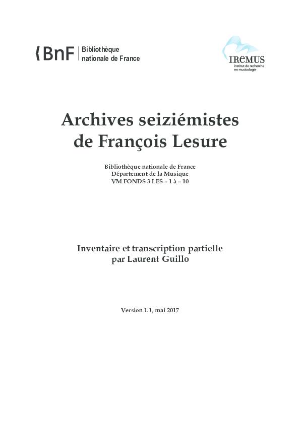 Pdf Archives Seiziémistes De François Lesure Inventaire