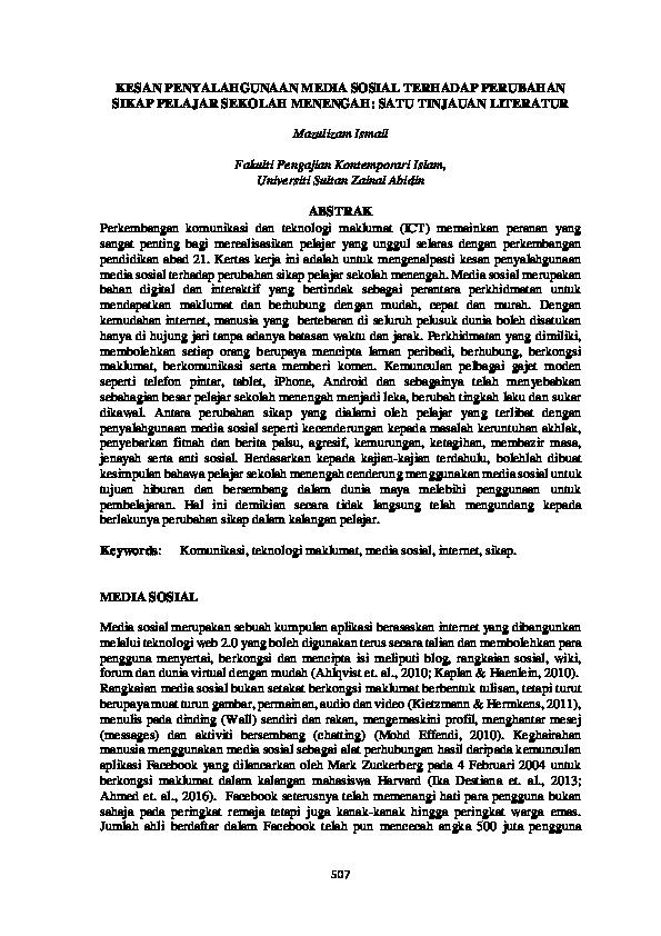 Pdf Kesan Penyalahgunaan Media Sosial Terhadap Perubahan Sikap Pelajar Sekolah Menengah Satu Tinjauan Literatur Noradila Samuri Academia Edu