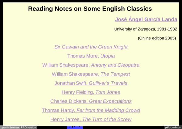 PDF) Reading Notes on Some English Classics | José Angel
