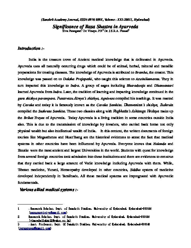 PDF) Significance of Rasa Shastra in Ayurveda | Panuganti