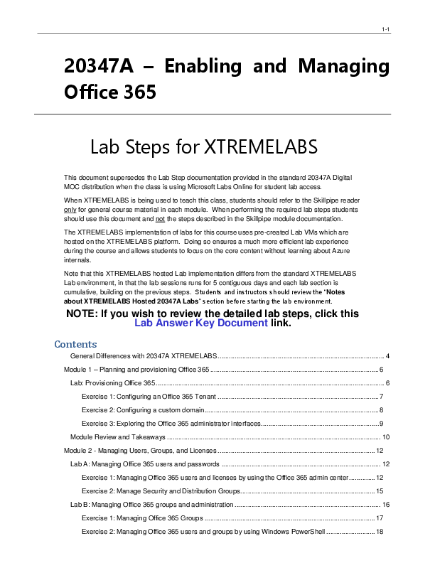 PDF) 20347A – Enabling and Managing Office 365 Lab Steps for