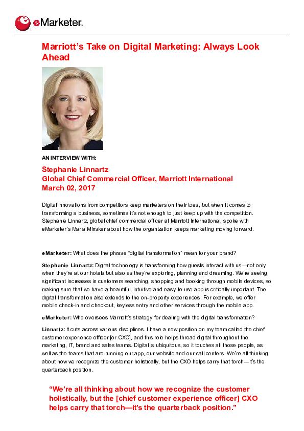 PDF) Marriott's Take on Digital Marketing: Always Look Ahead
