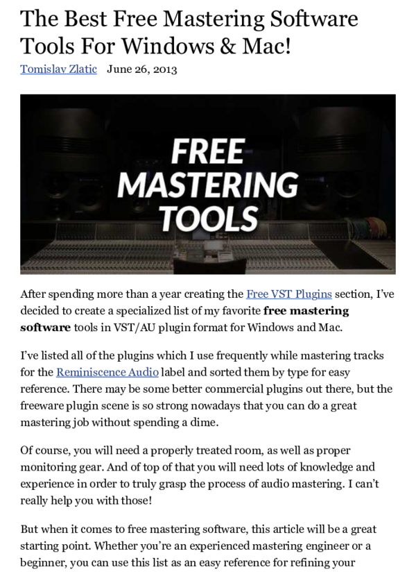 PDF) The Best Free Mastering Software Tools For Windows & Mac