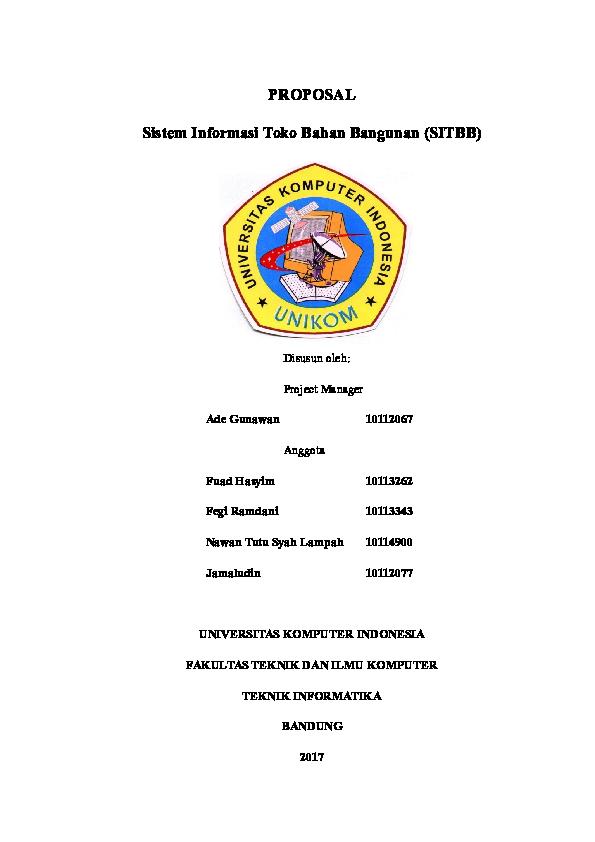 Doc Proposal Sistem Informasi Toko Bahan Bangunan Sitbb