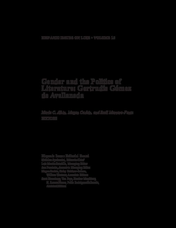 PDF) Gender and the Politics of Literature: Gertrudis Gómez