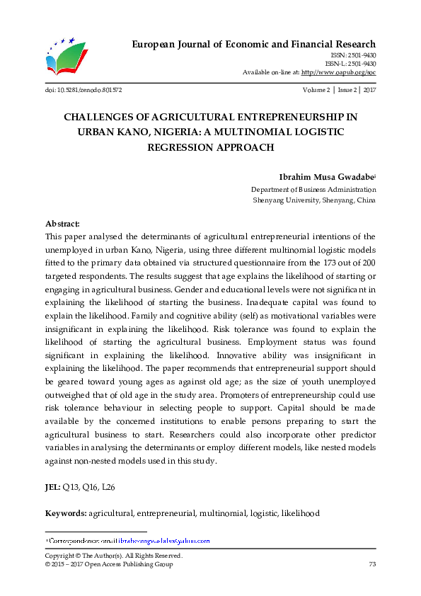PDF) CHALLENGES OF AGRICULTURAL ENTREPRENEURSHIP IN URBAN