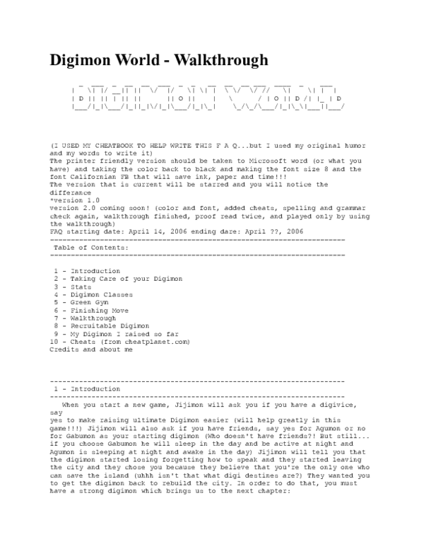 DOC) Digimon World -Walkthrough | Muhammad Rizky - Academia edu