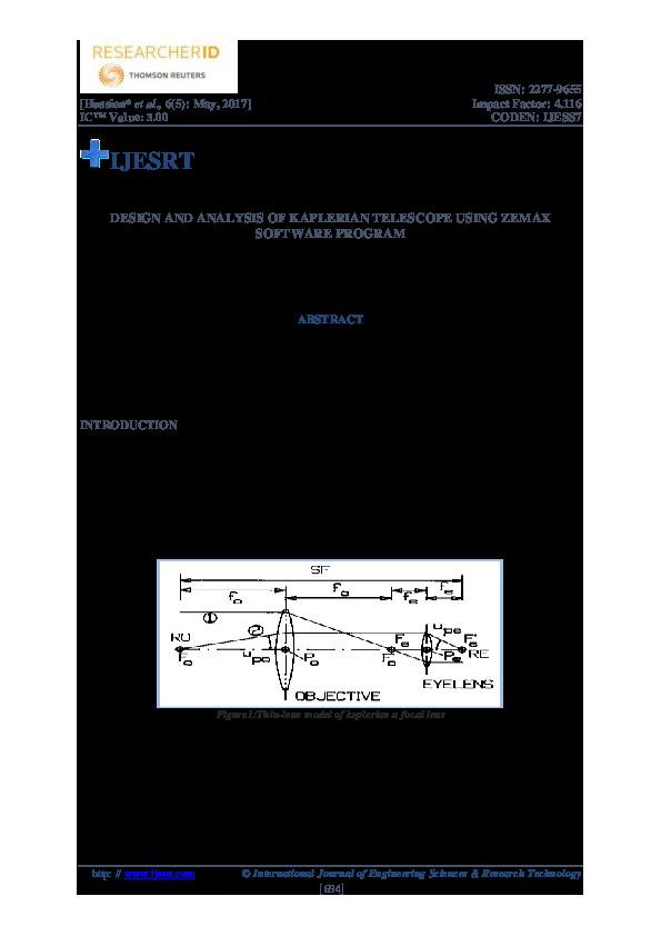 PDF) DESIGN AND ANALYSIS OF KAPLERIAN TELESCOPE USING ZEMAX