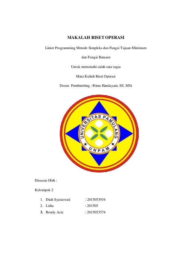Doc Makalah Riset Operasi Rendy Aziz Academia Edu