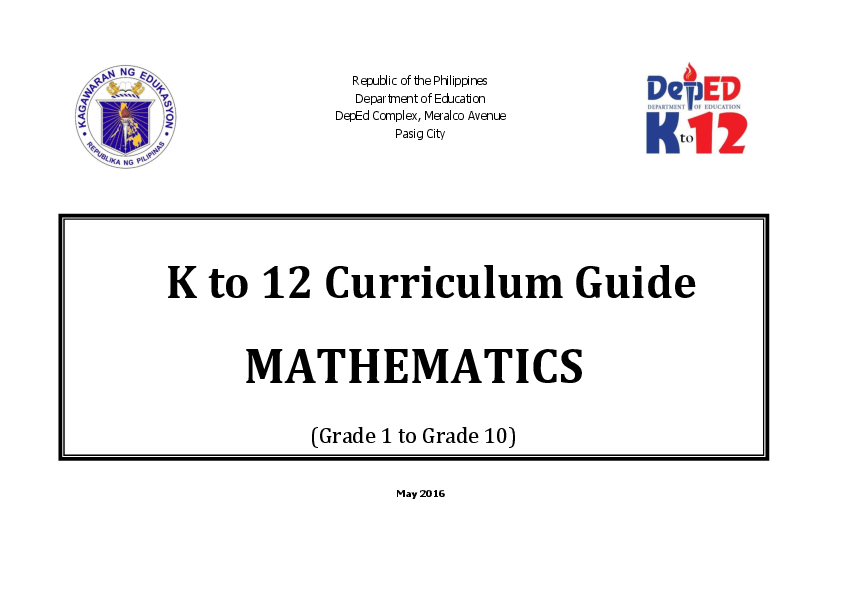 PDF) K to 12 Curriculum Guide MATHEMATICS | Joe Plasabas - Academia edu