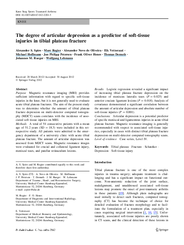 f8283c1eed The Degree of Articular Depression as a Predictor of Soft-tissue ...