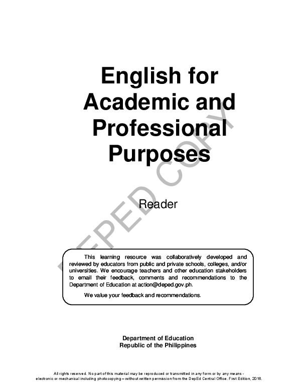 PDF) English for Academic and Professional Purposes Reader