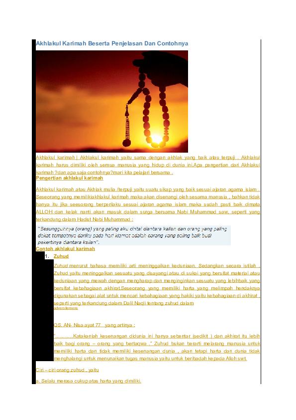 Doc Akhlakul Karimah Beserta Penjelasan Dan Contohnya Budi Purnomo Academia Edu