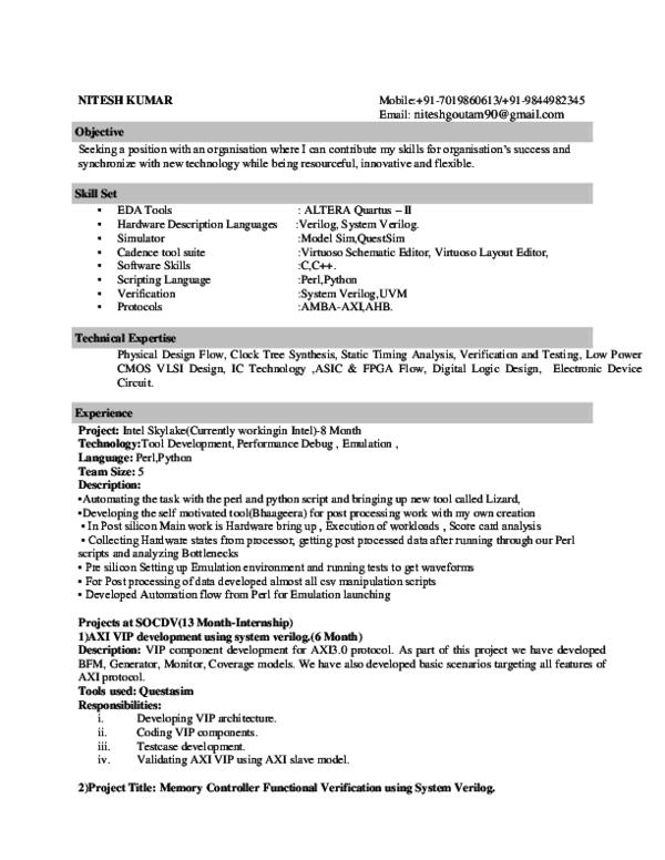 PDF) Resume Nitesh Intel 2 Year Exp | Nitesh Jain - Academia edu
