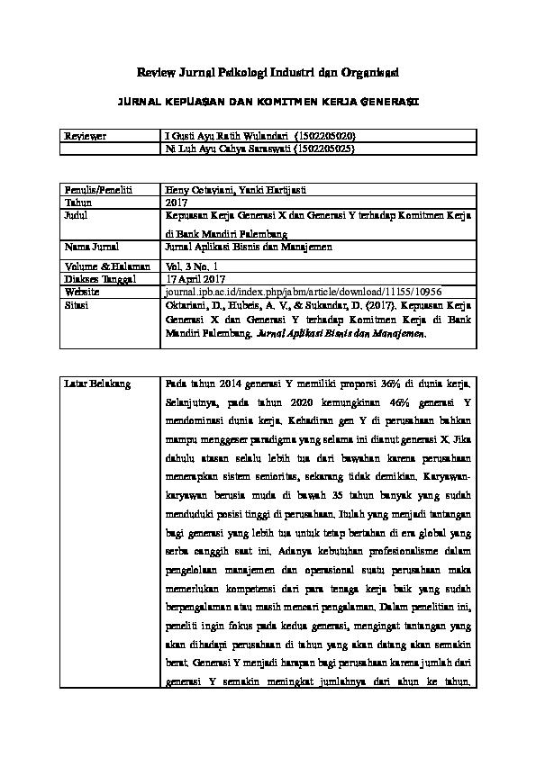 Doc Review Jurnal Psikologi Industri Dan Organisasi Cahya Saraswati Academia Edu