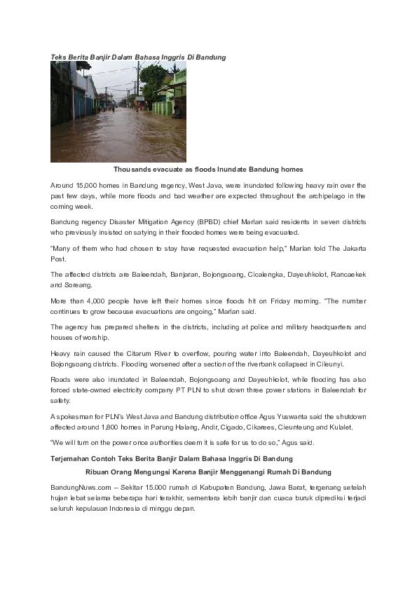 Doc Teks Berita Banjir Dalam Bahasa Inggris Di Bandung Reza Azzahara Academia Edu