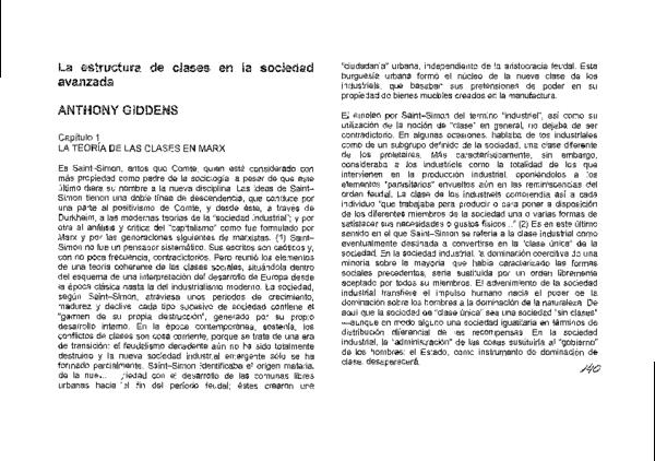 Pdf Giddens La Estructura De Clases En La Sociedad Avanzada