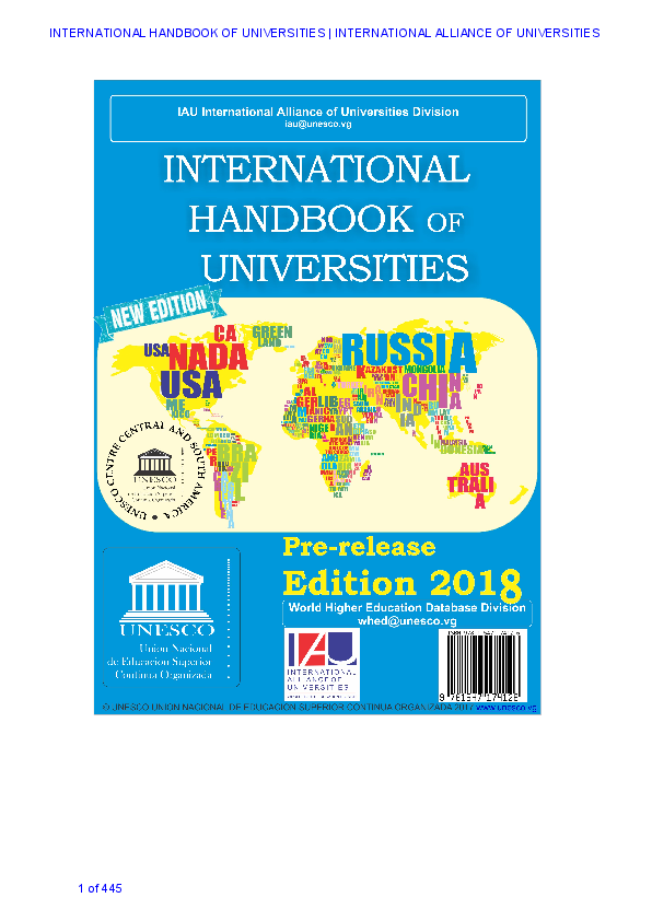 UNESCO International Handbook of Universities 2018 pre-release ... 1d0c0dca8ff8