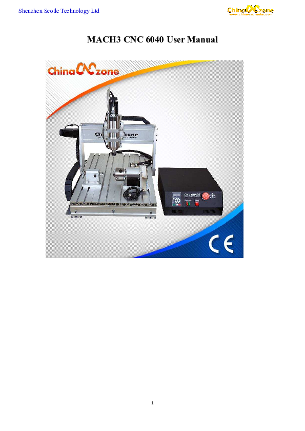 PDF) Shenzhen Scotle Technology Ltd MACH3 CNC 6040 User