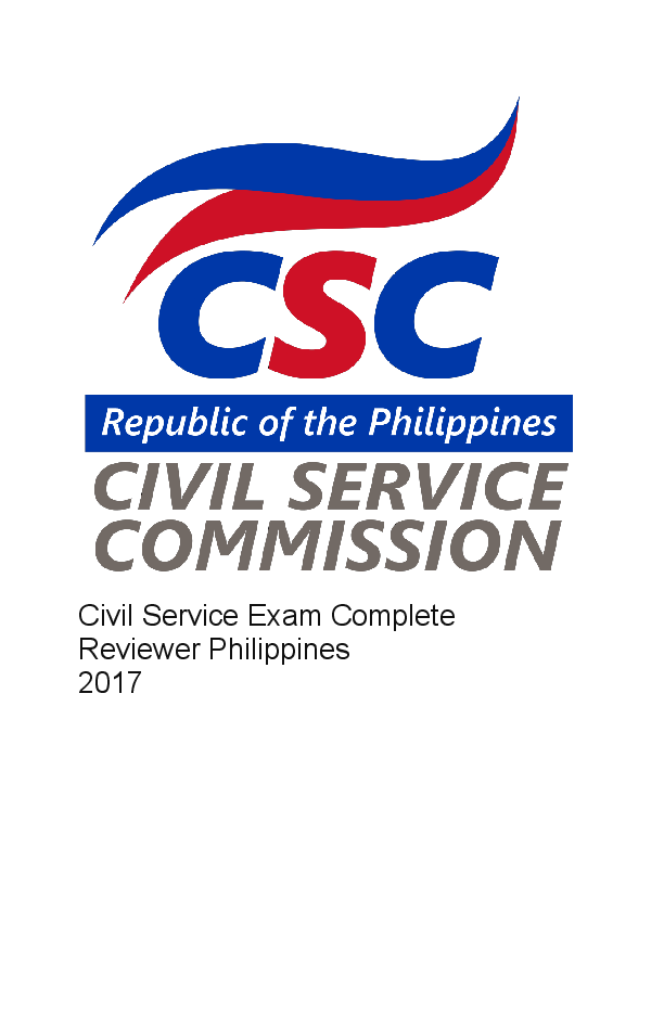 PDF) Civil Service Exam Complete Reviewer Philippines 2017