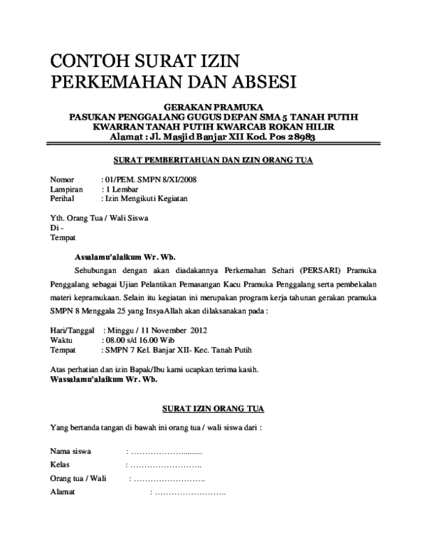 Doc Contoh Surat Izin Perkemahan Dan Absesidocx Waris