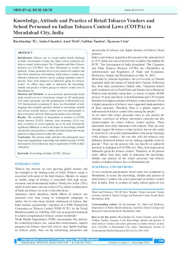 PDF) Knowledge, Attitude and Practice of Retail Tobacco