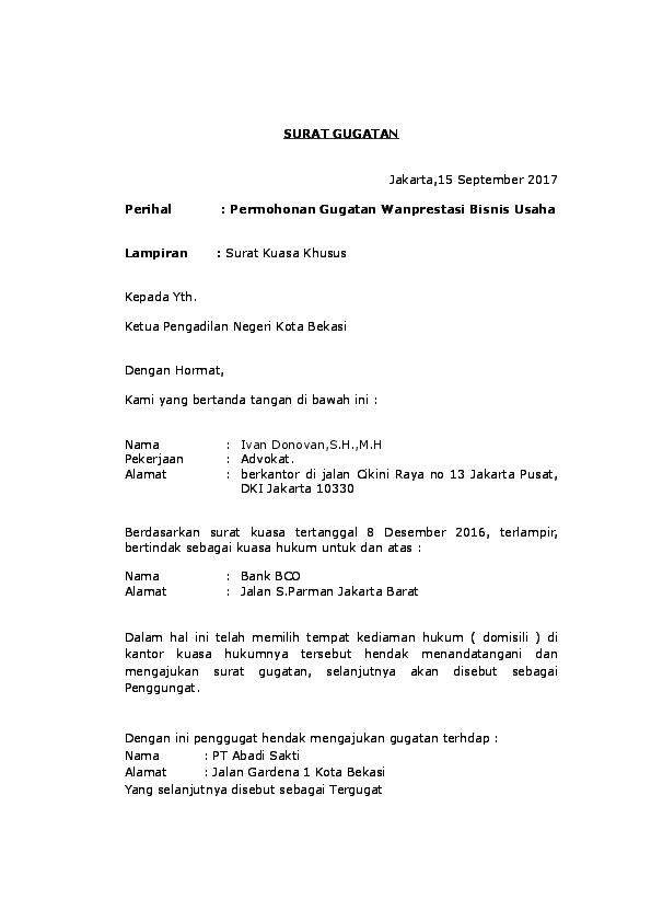 Doc Surat Gugatan Wanprestasi Utang Piutang Ivan Donovan