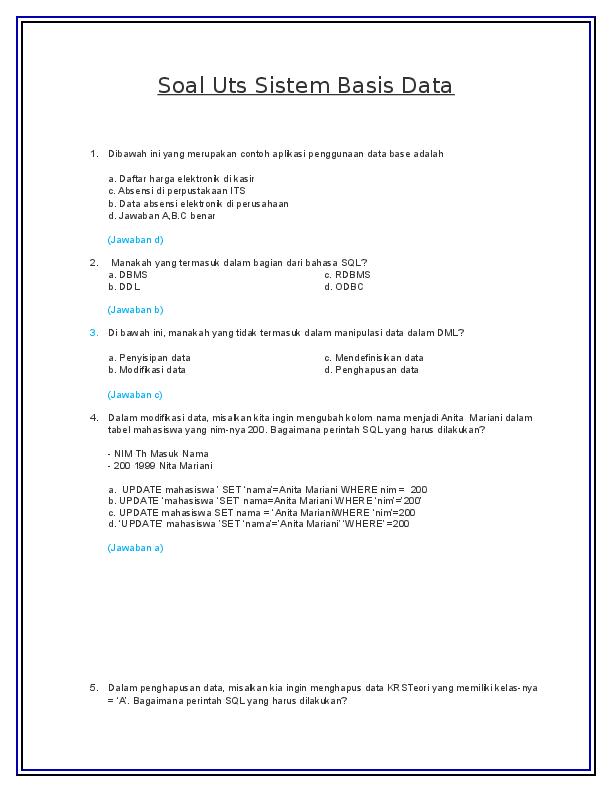 Contoh Soal Basis Data Dan Jawabannya