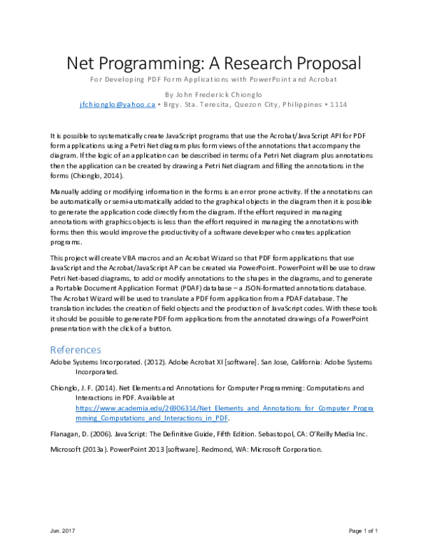 Net Programming: A Research Proposal For Developing PDF Form