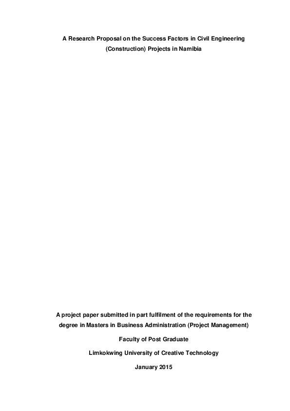 PDF) A Research Proposal on the Success Factors in Civil Engineering