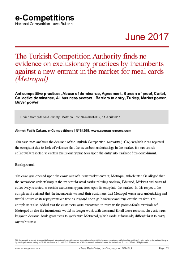 PDF) The Turkish Competition Authority finds no evidence on