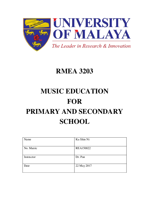 Doc Rmea 3203 Music Education For Primary And Secondary School