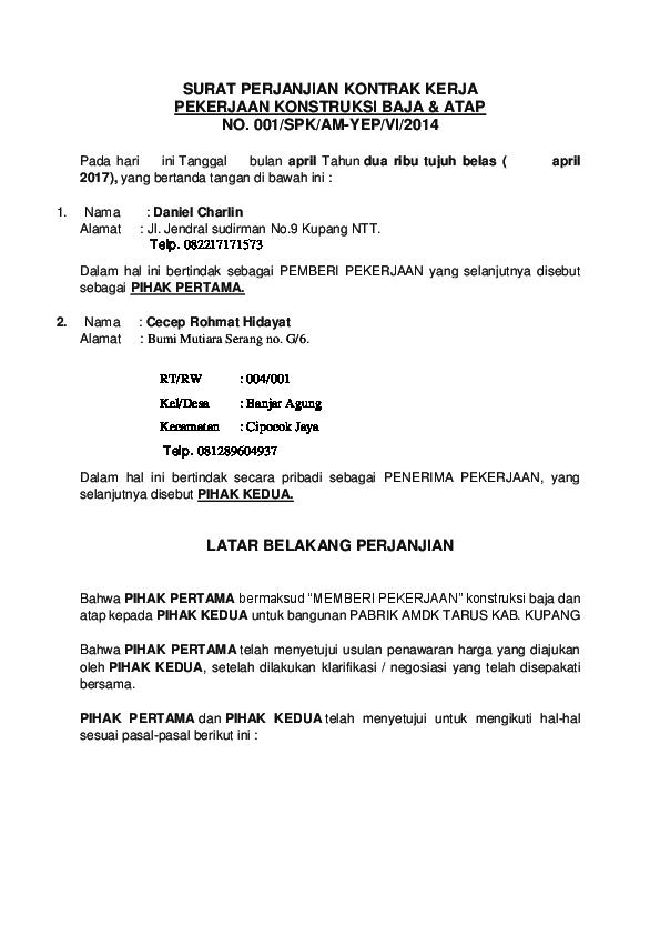 Doc Surat Perjanjian Kontrak Kerja Iksan Senda Academia Edu