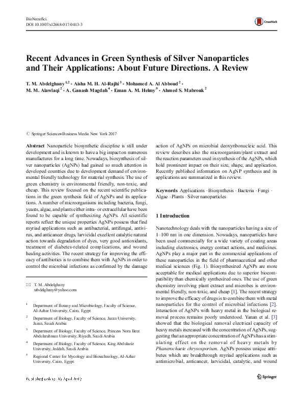 PDF) Recent Advances in Green Synthesis of Silver