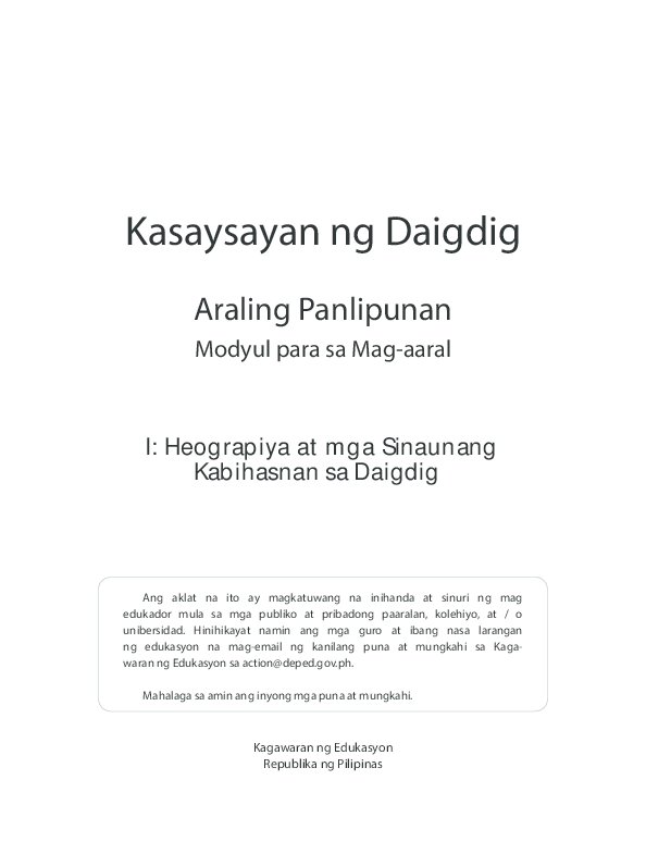 PDF) Kasaysayan ng Daigdig Araling Panlipunan | MA  CRISTINA