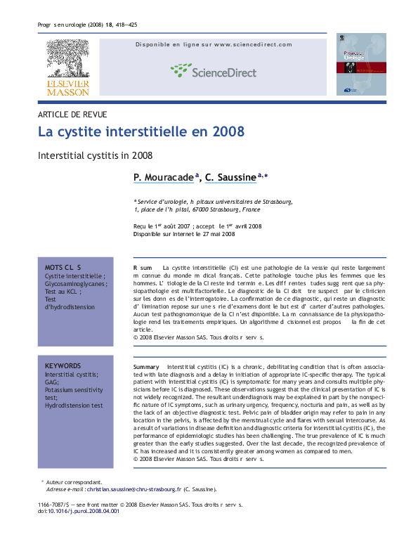 PDF) Interstitial cystitis in 2008 | La cystite interstitielle en ...