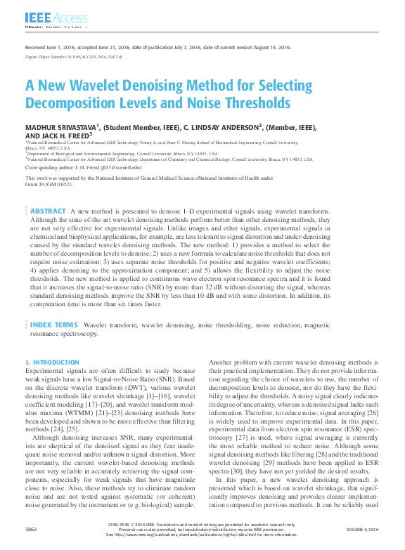 PDF) A New Wavelet Denoising Method for Selecting