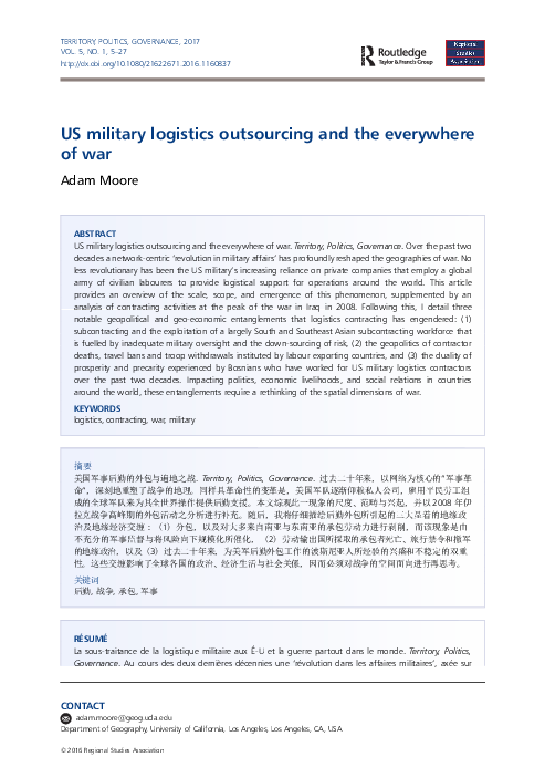 PDF) U S  military logistics outsourcing and the everywhere