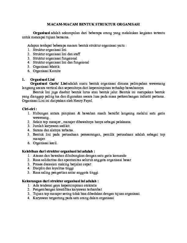 doc) macam macam bentuk struktur organisasi adelia asri academia edu Struktur Organisasi Fungsional docx