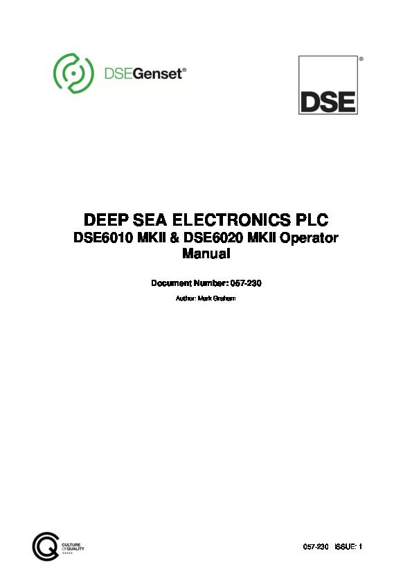 PDF) DEEP SEA ELECTRONICS PLC DSE6010 MKII & DSE6020 MKII