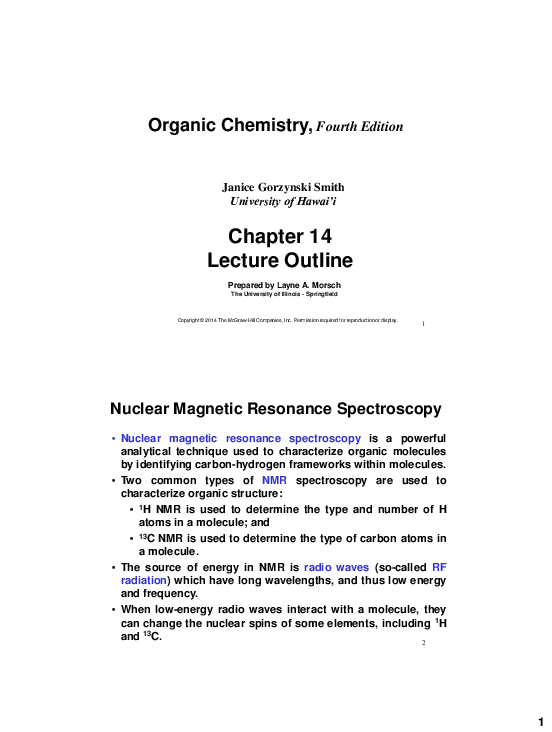 PDF) Organic Chemistry, Fourth Edition Chapter 14 Lecture Outline
