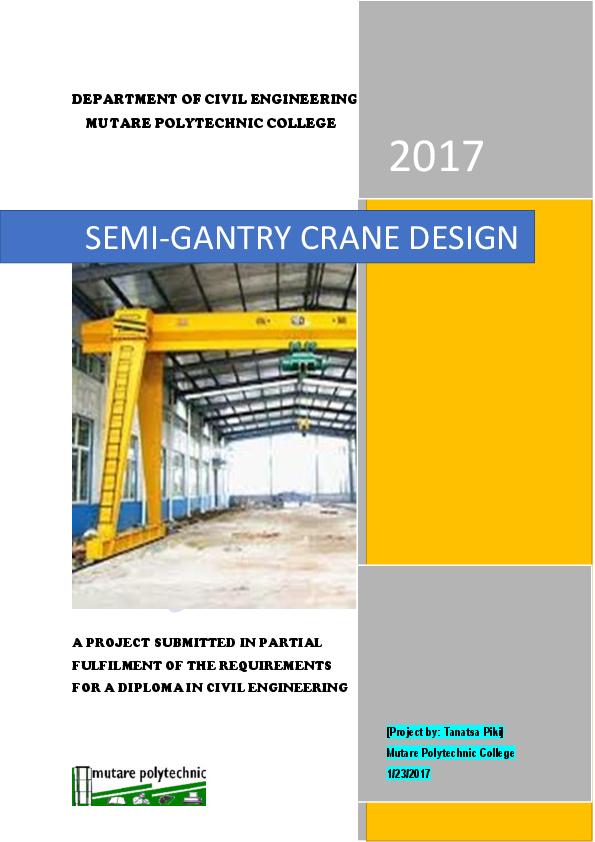 Doc Design Of A Semi Gantry Crane Tanatsa Piki Academia Edu