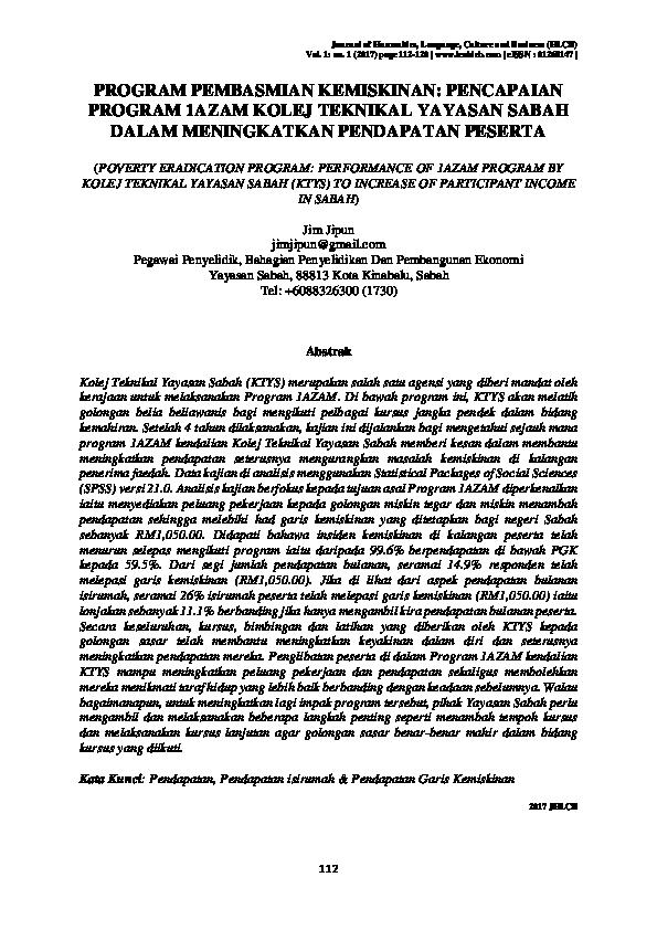 Pdf Poverty Eradication Program Performance Of 1azam Program By Kolej Teknikal Yayasan Sabah Ktys To Increase Of Participant Income In Sabah Program Pembasmian Kemiskinan Pencapaian Program 1azam Kolej Teknikal Yayasan Sabah Dalam