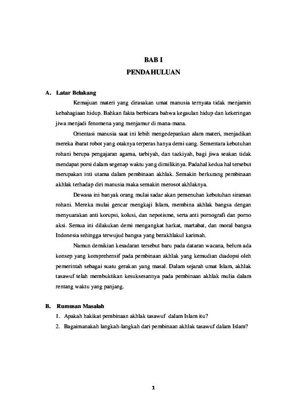 Doc Makalah Pembinaan Akhlak Dalam Islam Bab I Iii Aren Chrestian Academia Edu