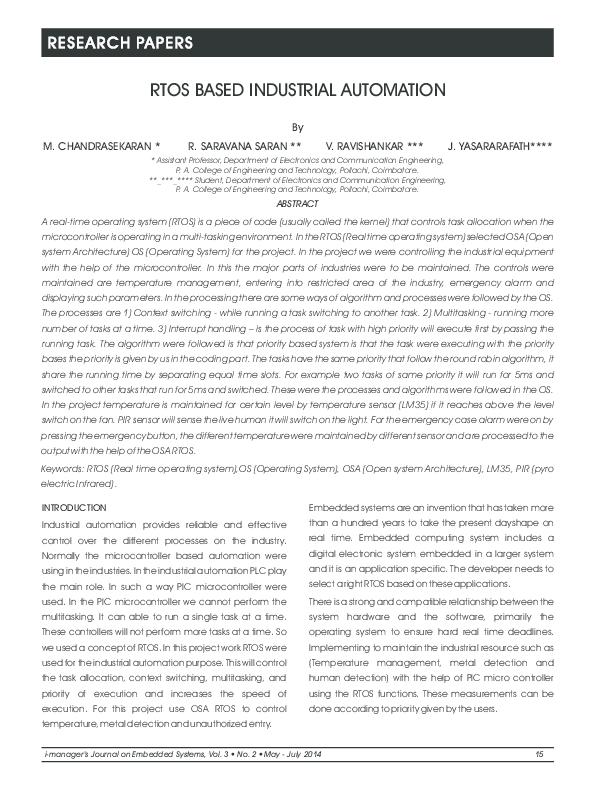 PDF) RTOS Based Industrial Automation pdf | M chandra Sekaran