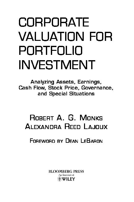 PDF) CORPORATE VALUATION FOR PORTFOLIO INVESTMENT | William