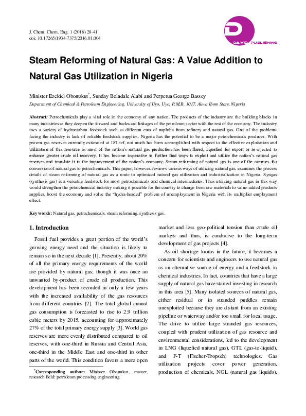 PDF) Steam Reforming of Natural Gas: A Value Addition to Natural Gas