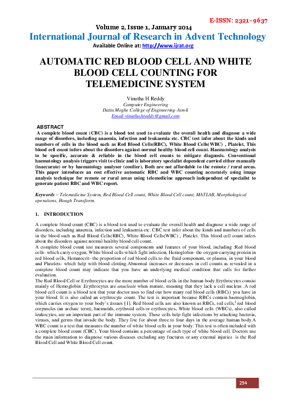 PDF) AUTOMATIC RED BLOOD CELL AND WHITE BLOOD CELL COUNTING FOR