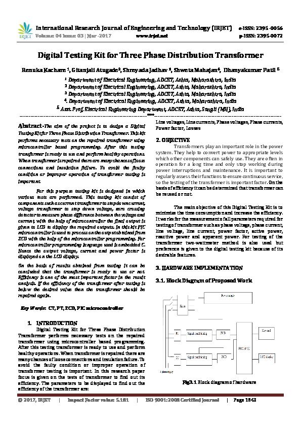 PDF) Digital Testing Kit for Three Phase Distribution